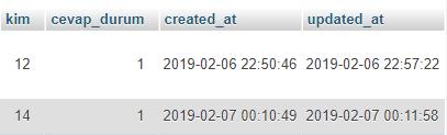 laravel carbon sınıfı geçen süre hesaplama örnek mysql veritabanı görseli
