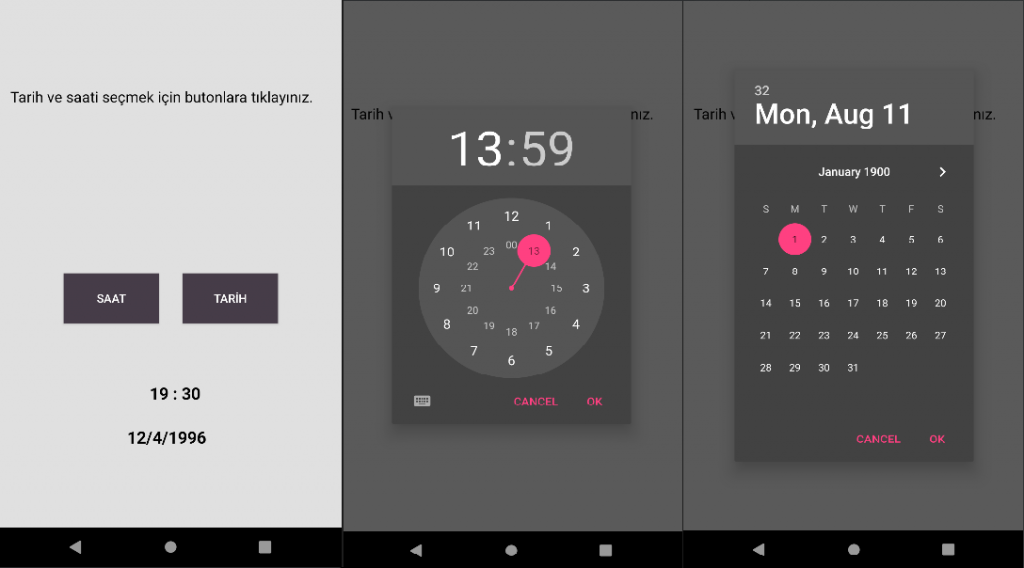 Android - Date Picker & Time Picker Kullanımı