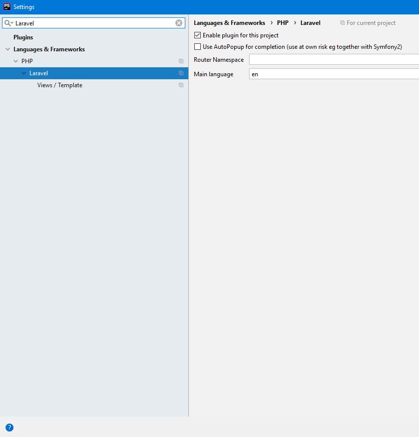 PHP Storm için Laravel Plugin eklentisi ayarı